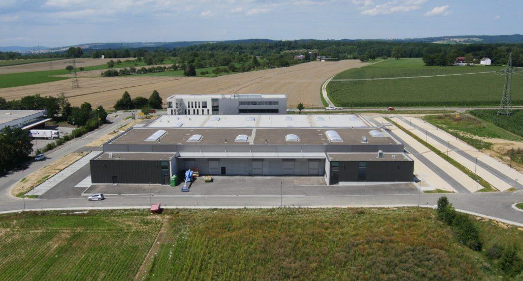 Elero in Schlierbach, Luftaufnahme Elero Schlierbach, Neues Geschäftsgebäude Elero