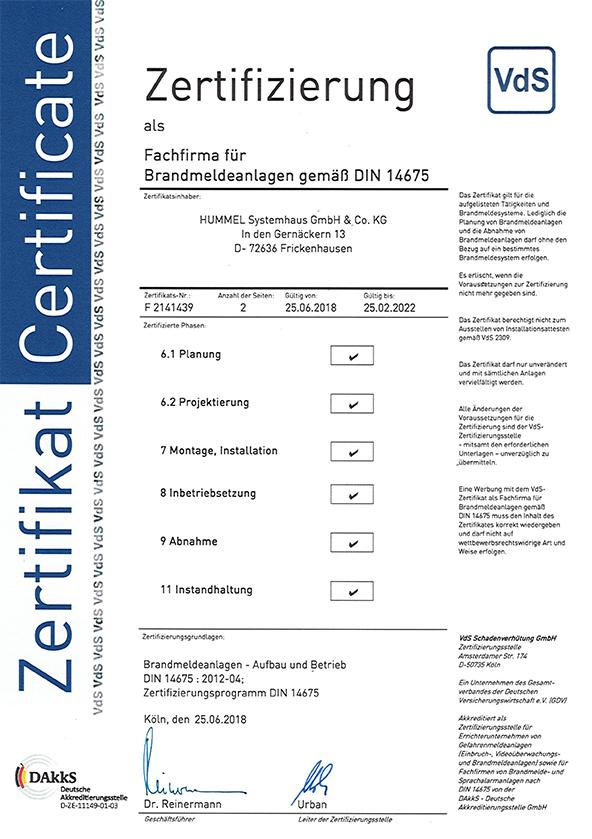 VdS BMA Zertifizierung DIN14675